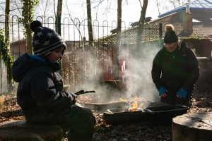 making a fire at horringer forest school